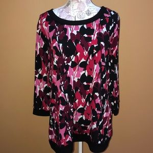Dana Buchman PInk Black Floral Top XL